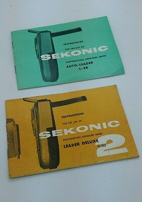 Vintage SEKONIC auto leader L-38 & L-36 Instruction Manuals 24p.