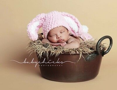 ***handmade Photo Prop Baby Bunny Hat And Nappy Cover Newborn-3Mths***
