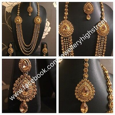 Indian Pakistan Bollywood Long Necklace Gold stone necklace,earring & mang tikka