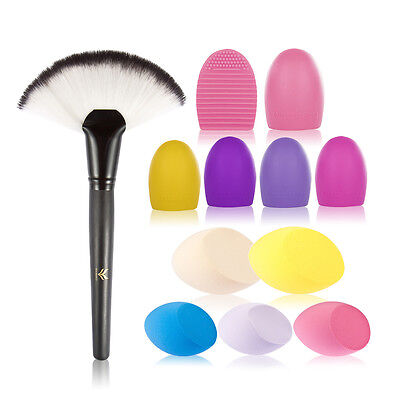 New Professional Large Fan-Shaped Makeup Brush+oblique egg-shaped puff+Scrubber