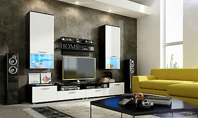 wall unit furniture living room tv stand Wenge&White HIGH GLOSS LED lights!
