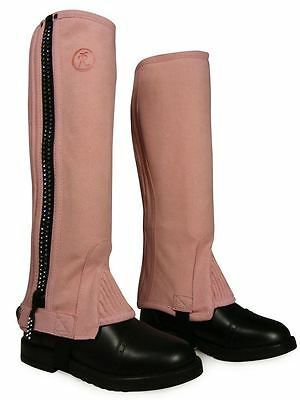 Childs Diamante Horse Pony Riding Girls Amara Suede Gaiters Half Chaps Gloves