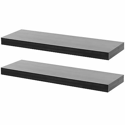 Hartleys Set Of 2 Black Rectangular Wooden Floating Wall Shelves 60Cm Wood Shelf