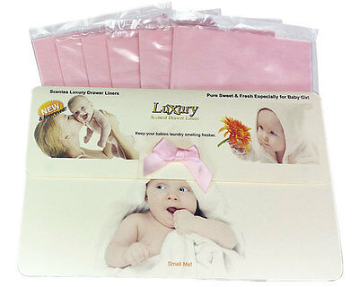 Baby Girls Scented Luxury Drawer Liners Ideal Baby Shower Gift Pack of 6 120gsm