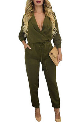 New Ladies Army Green Long Sleeve V Neck Jumpsuit Size S, M & L