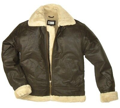 New Fur Lined Genuine Leather Flying Bomber Jacket Pilot Style Military Biker