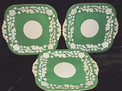 Green RHAPSODY Handled Square Plates 1920s GEORGE JONES & SONS Crescent Pottery