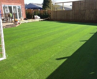 30mm Wembley Striped Artificial Grass Lawn 8m x 4m Stripe Turf Pet Friendly