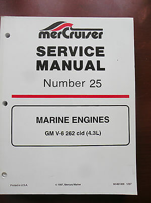 90-861328 Mercury Mercruiser Sercive Manual #25 - Gm V6 - 262Ci - 1997 - New