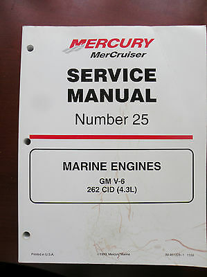 90-861328 1 Mercury Mercruiser Service Manual #25 Gm V6, 262Ci, 4.3L  1999 - New
