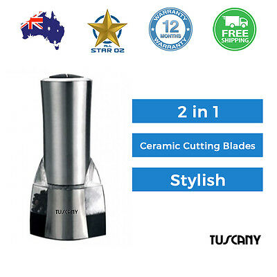 Salt and Pepper Grinder Electric Grind and Mill 2-In-1 Tuscany Shaker