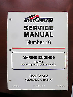 90-8232224 2 Mercury Mercruiser Service Manual #16 Gm V8 454 502 New