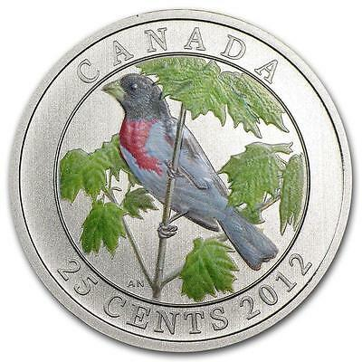 2012 25-Cent Coloured Rose Breasted Grosbeak, Birds Of Canada Series