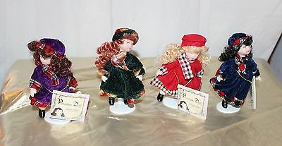 """Set of 4 5"""" Porcelain Dolls Gift Hangs All Different Dressed in Winter Coats LE"""