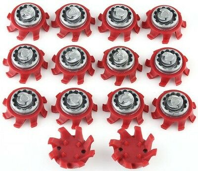 14Pcs Golf Shoes Spikes TRI-LOK Fast Twist Replacement  Red & Gray For Footjoy