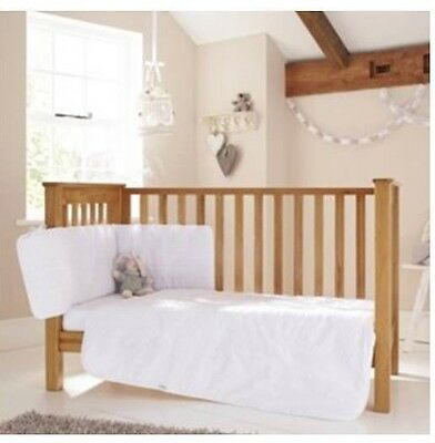 Clair de Lune Broderie Anglaise 3 Piece Cot/ Cot Bed Bedding Set NEW WHITE