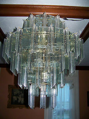Glass, Acrylic and Gold Chandelier