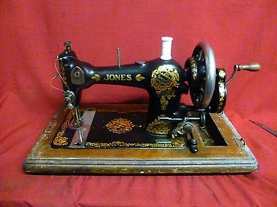 Vintage Jones Sewing Machine. Family CS Manchester. with Case