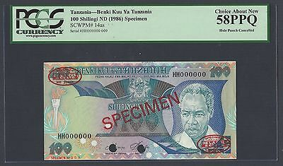 Tanzania 100 Shillingi ND 1986 P14as Specimen TDLR About Uncirculated