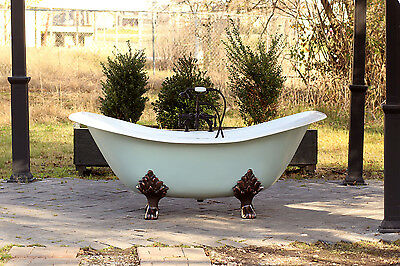 "Green Blue Antique Inspired 72"" Cast Iron Porcelain Clawfoot Bathtub 6' Slipper"