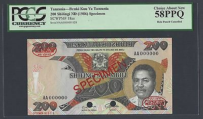 Tanzania 200 Shillings ND 1986 P18as Specimen TDLR About Uncirculated