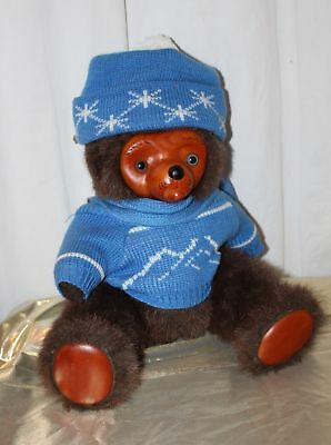 """Raikes Bear 14"""" Tall Brown Plush Wooden Face and Pads Snowflake Sweater Scarf"""