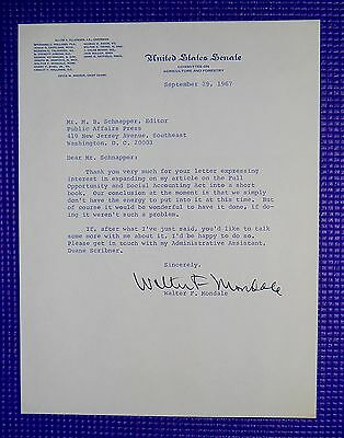 SIGNED Walter Mondale 1960s Typed Letter Jimmy Carter Vice President Autographed