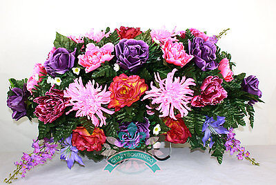 Beautiful XL Roses And Purple Peonies Tombstone Headstone Saddle