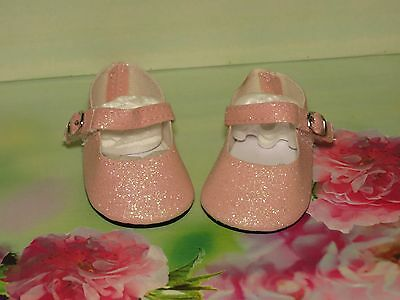 Shoes To Fit The Galoob Baby Face American Girl Doll Pink Glitter Maryjane