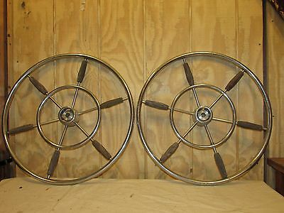 Maritime Art Deco Or Mid Century Modern Chrome And Wood Ships Wheel Nautical Pair Antiques