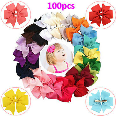 100pcs Baby Girls Hair Bows Kids Grosgrain Ribbon Flower Alligator Hair Clips