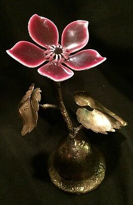 Vintage Gold-tone Metal Bell With Gold Leaves And Magenta Enamel Flower