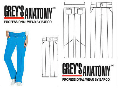 New Grey's Anatomy Blueberry Uniform Women's Drawstring Yoga Scrub Pant 4276