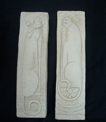 """E. Smithson """"Cat Tails"""" Cat Relief Art Wall Hangings Plaques Set of 2 Unpainted"""