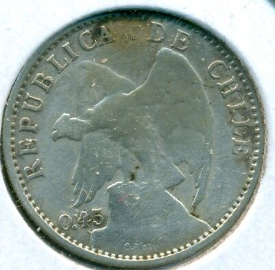 1916 Chile 20 Centavos, Fine, Great Price!