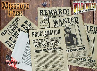 Wanted Posters Old West Missouri Pack EXCLUSIVE!