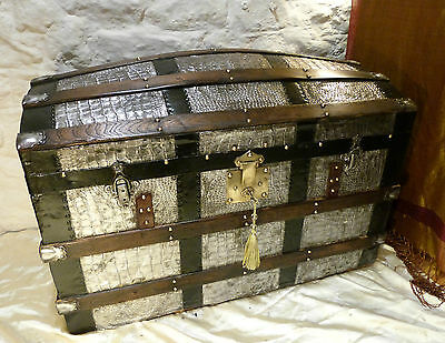 Rare Vintage Domed Trunk Chest Polished Metal Alligator Pattern, Lock & Key