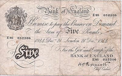 1944 White £5 Banknote signed Peppiatt