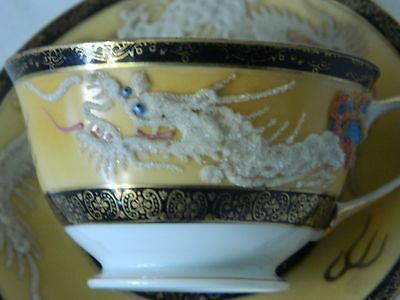 Vintage Stunning Chinese Gilt Ceramic Cup/ Saucer W/ Embossed Dragon H/ Painted