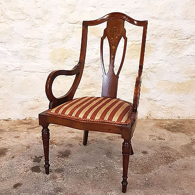 Edwardian Marquetry Inlaid Mahogany Bedroom Elbow Armchair - C1910 (Antique)