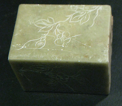 """Soapstone Block Marbled 2.2""""x 2.2""""x 3.2"""" 840g Carving Sculpture Pipes"""