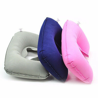 U-Shaped Inflatable Travel Pillow Air Cushion Neck Rest Compact Flight Cusion NW