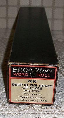 'DEEP IN THE HEART OF TEXAS' BROADWAY PIANOLA WORD ROLL One Step (2691) damaged