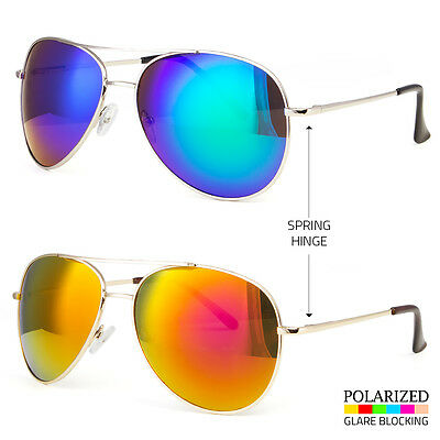 529c823bde3 Color Mirror Large Pilot Style Silver Metal Frame Sunglasses Shade Spring  Hinge