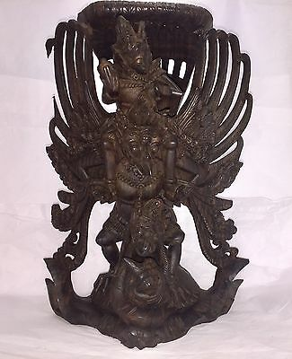 Vintage Garuda and Vishnu Wood Carving from Bali Indonesia Exquisite Detail