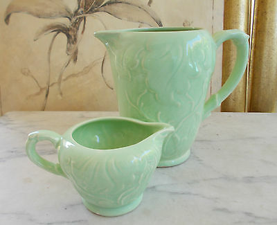 Vintage English Pottery 2 x SYLVAC Green Leaf Jugs Ewers Pitchers Creamers #1698
