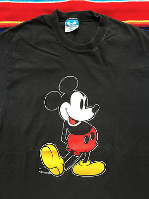 VTG MICKEY MOUSE Walt Disney Character Classic black t shirt M 80s 90s USA