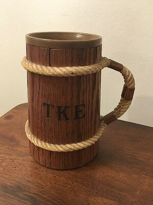 """Vintage Authentic TKE Wooden Cup With Plastic Cup/Mug Insertion 6"""" Tall"""