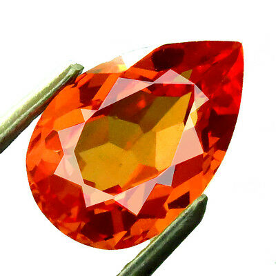 4.05ct LAB CREATED AWESOME PADPARASCHA ORANGE SAPPHIRE PEAR FACET GEM