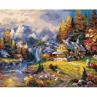 "16X20"" DIY Paint By Number Kit Oil Painting On Canvas Plaid Mountain Hideaway"